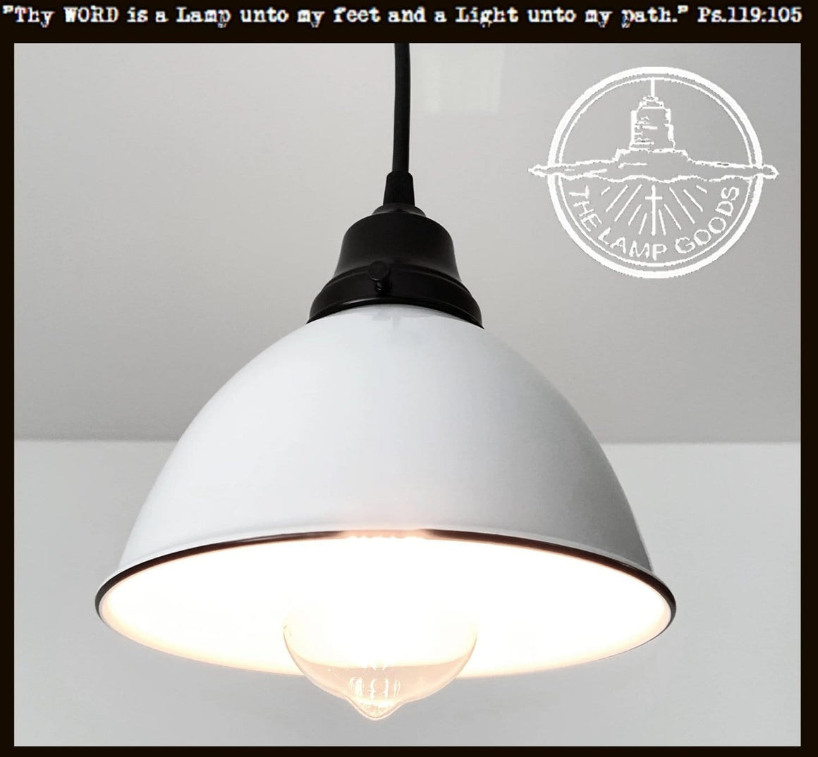 White Enamel Farmhouse Pendant Light
