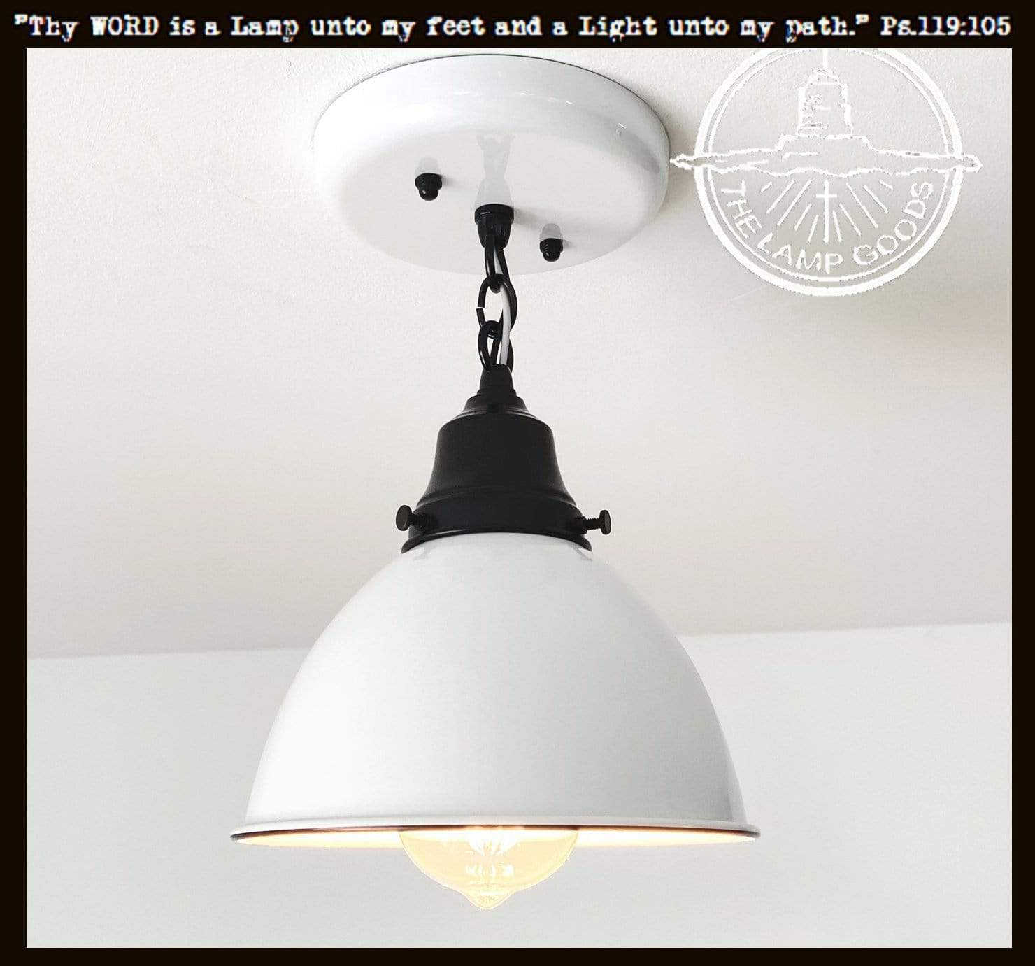 Picture of: White Enamel Farmhouse Ceiling Light With Chain The Lamp Goods