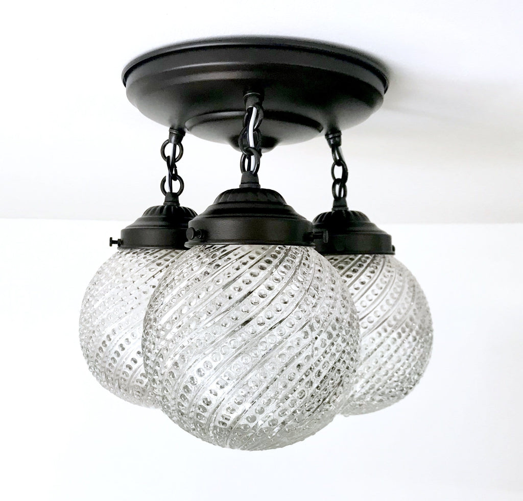 Hobnail Swirl Glass Ceiling Lighting Fixture Trio - The Lamp Goods