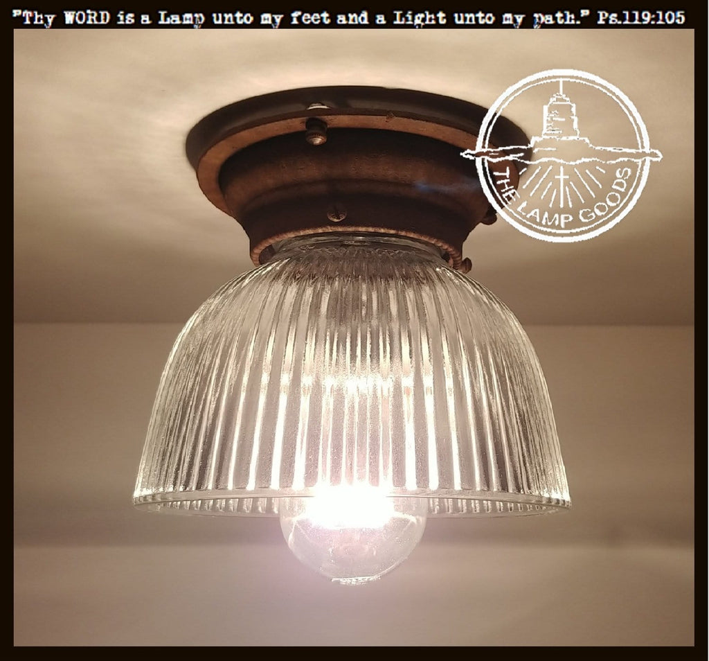 Vintage Holophane Rustic Ceiling LIGHT - The Lamp Goods