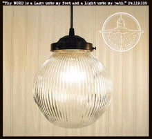 Load image into Gallery viewer, LARGE PENDANT Light Clear Holophane Globe - The Lamp Goods
