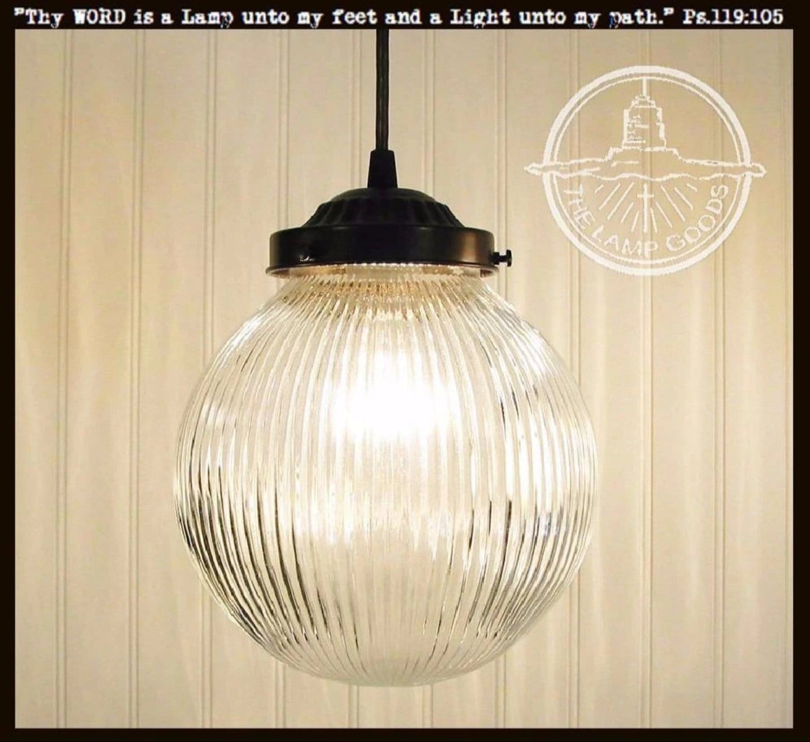 LARGE PENDANT Light Clear Holophane Globe - The Lamp Goods