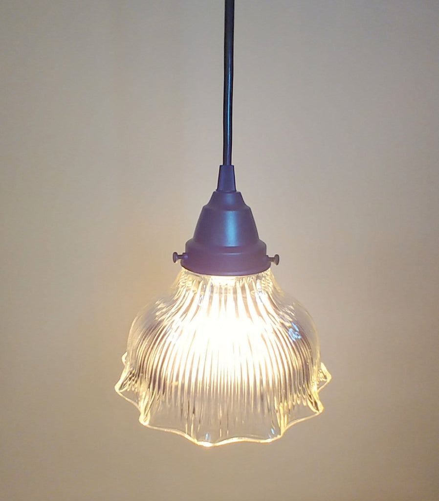 Vintage Holophane Glass Pendant Light - The Lamp Goods