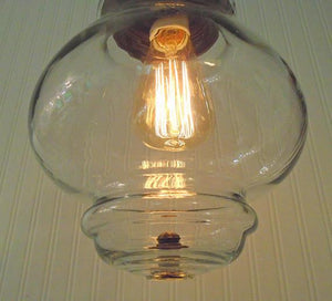 Pendant Light with Edison Bulb of Vintage Globe - The Lamp Goods
