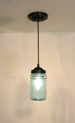 Vintage BLUE Mason Jar PENDANT Light - The Lamp Goods