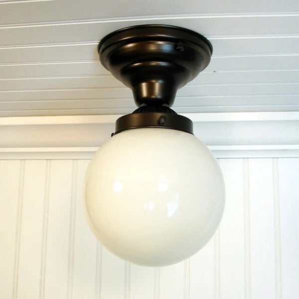 Winterport II. Milk Glass GLOBE Ceiling Light - Mason Jar Light Fixture - The Lamp Goods - 2