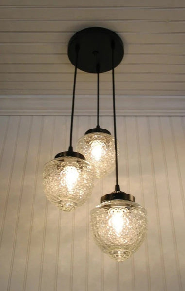 Island Falls II. Pendant CHANDELIER Light Trio - Clear Glass Lighting Fixtues - The Lamp Goods - 2