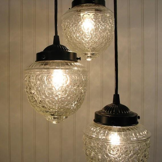 Island Falls II. Pendant CHANDELIER Light Trio - Clear Glass Lighting Fixtues - The Lamp Goods - 3