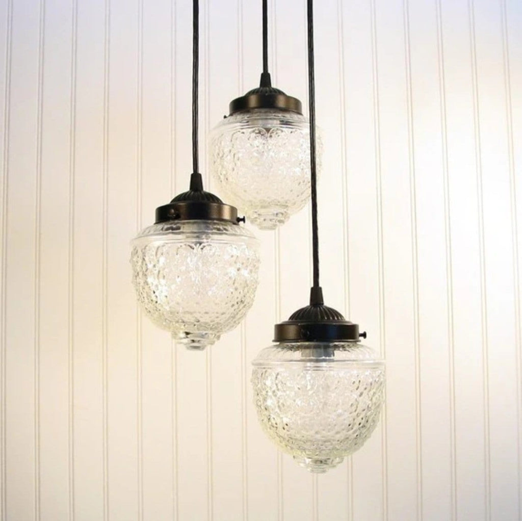 Island Falls II. Pendant CHANDELIER Light Trio - Clear Glass Lighting Fixtues - The Lamp Goods - 4