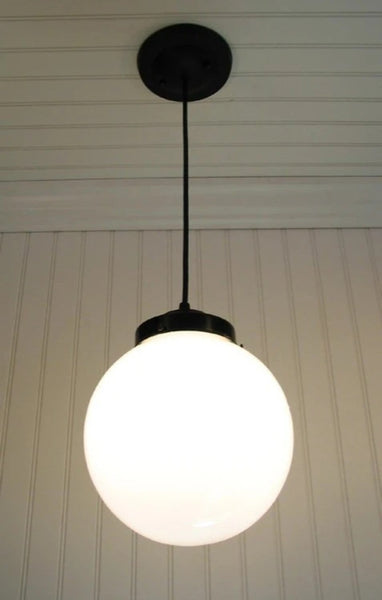 Winterport. Milk Glass PENDANT Light Large Globe - Mason Jar Light Fixture - The Lamp Goods - 2