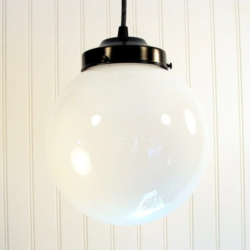Winterport. Milk Glass PENDANT Light Large Globe - The Lamp Goods