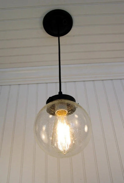 Seeded Glass Pendant Lighting - Clear Glass Lighting Fixtues - The Lamp Goods - 3
