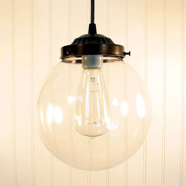 Biddeford. Glass PENDANT Light Large - Clear Glass Lighting Fixtues - The Lamp Goods - 3