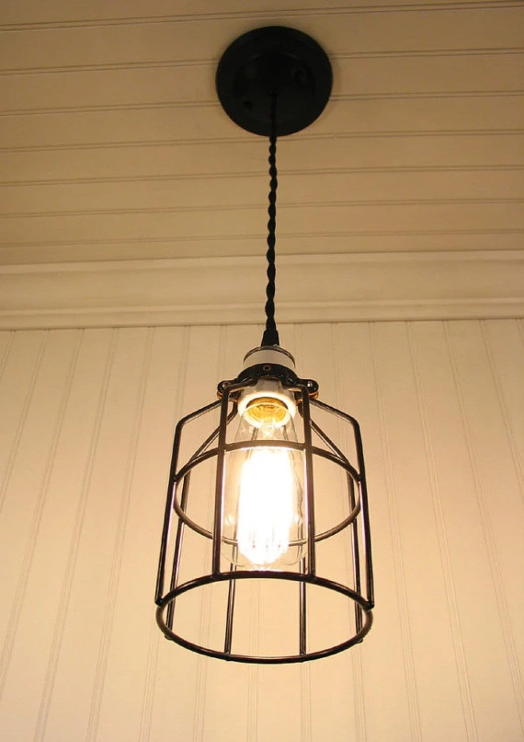 Industrial Cage Pendant Light With Edison Bulb The Lamp Goods