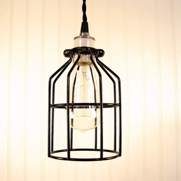 Industrial Cage PENDANT Light with Edison Bulb - Industrial Lighting - The Lamp Goods - 5