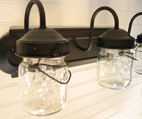 Mason Jar VANITY Light Vintage Pint Trio - Mason Jar Light Fixture - The Lamp Goods - 4