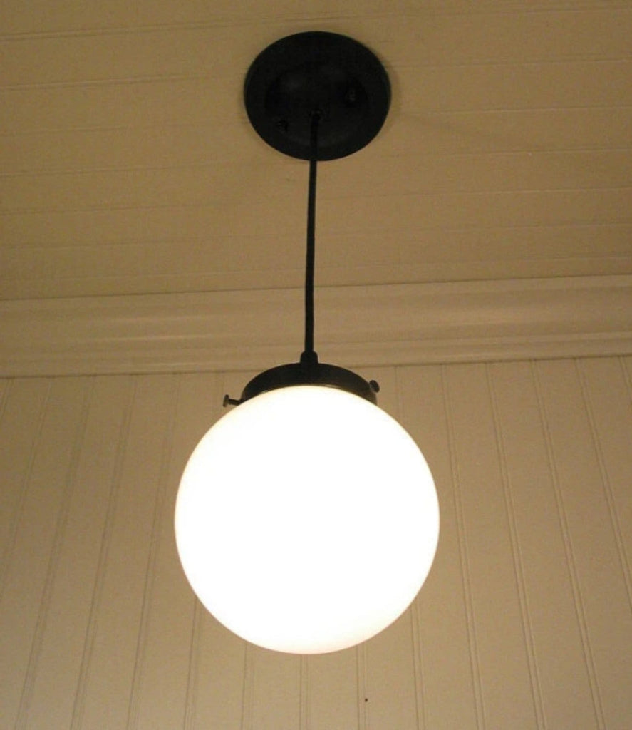 Winterport II. Milk Glass PENDANT Lighting Fixture - The Lamp Goods