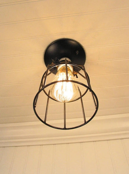 Industrial Cage CEILING LIGHT with Edison Bulb - Industrial Lighting - The Lamp Goods - 4