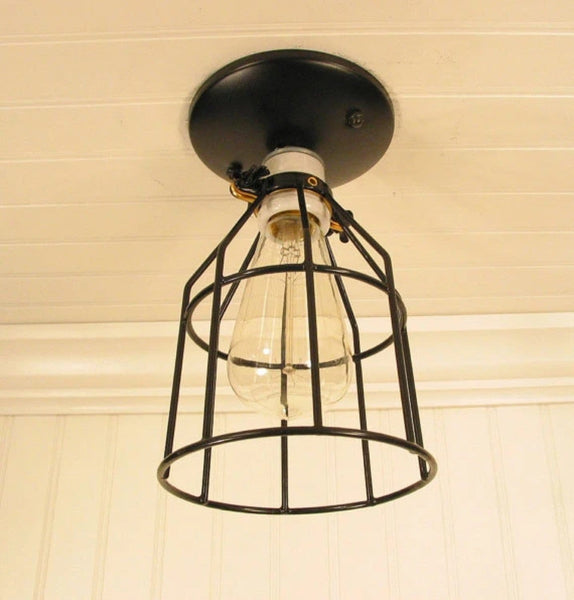 Industrial Cage CEILING LIGHT with Edison Bulb - Industrial Lighting - The Lamp Goods - 5