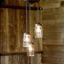Load image into Gallery viewer, Mason Jar 3-Light Chandelier Trio of Vintage Quart Jars - The Lamp Goods