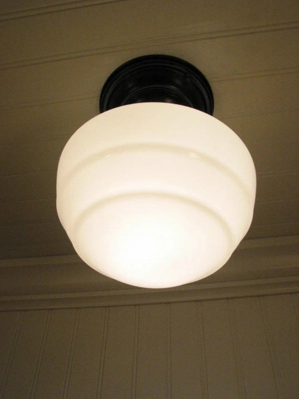 Milk Glass Ceiling Light Fixture Mushroom Style The Lamp