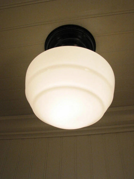 Milk Glass CEILING LIGHT Fixture Mushroom Style - Mason Jar Light Fixture - The Lamp Goods - 3