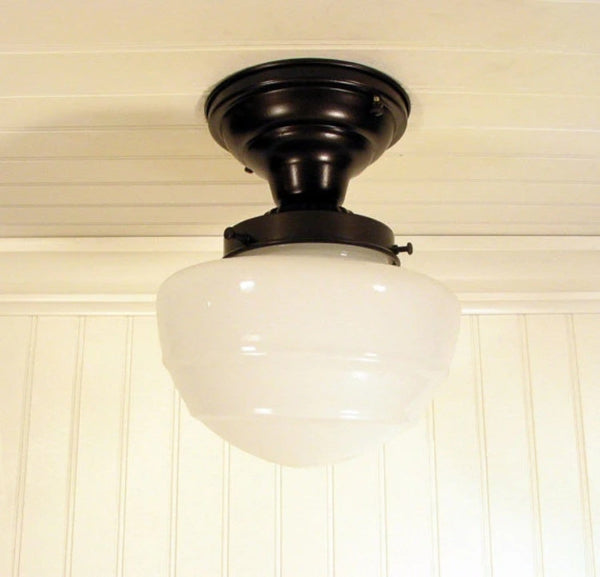 Milk Glass CEILING LIGHT Fixture Mushroom Style - Mason Jar Light Fixture - The Lamp Goods - 4