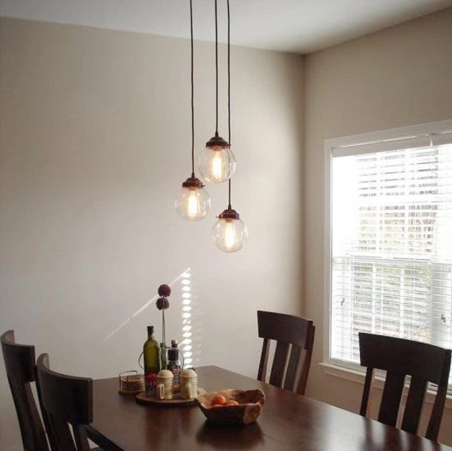 Seeded glass pendant chandelier light trio the lamp goods mozeypictures Choice Image