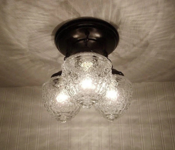 Island Falls. Ceiling Lighting Fixture Trio - Clear Glass Lighting Fixtues - The Lamp Goods - 2