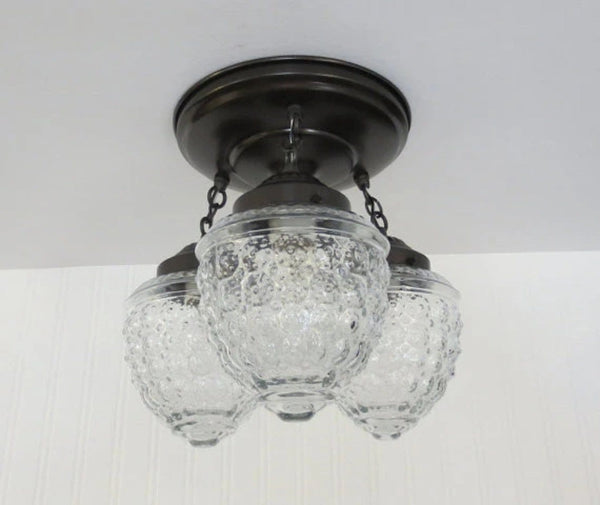 Island Falls. Ceiling Lighting Fixture Trio - Clear Glass Lighting Fixtues - The Lamp Goods - 3