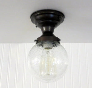 Seeded Glass Ceiling Light Semi Flush Mount - The Lamp Goods