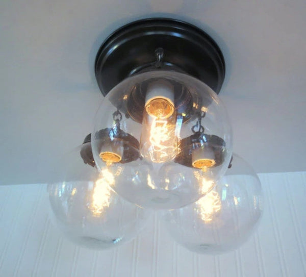 Biddeford II. Modern Lighting Fixture Trio - Clear Glass Lighting Fixtues - The Lamp Goods - 2