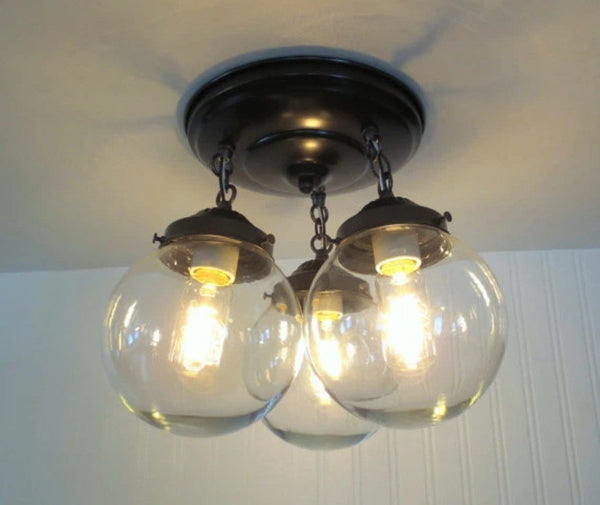 Biddeford II. Modern Lighting Fixture Trio - Clear Glass Lighting Fixtues - The Lamp Goods - 3
