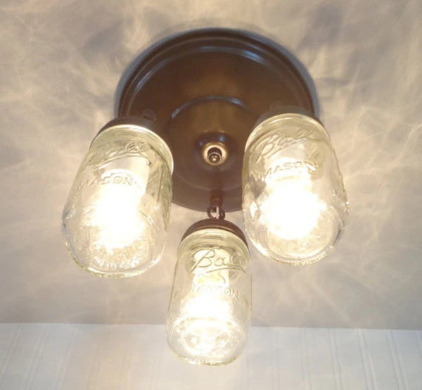 Mason Jar LIGHT FIXTURE New PINT Trio - Mason Jar Light Fixture - The Lamp Goods - 3