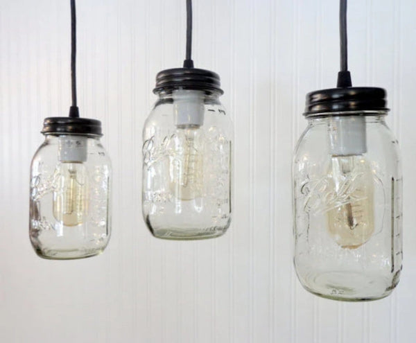 Mason Jar Trio CHANDELIER Light Rectangular with NEW Quart - Mason Jar Light Fixture - The Lamp Goods - 3