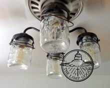 Load image into Gallery viewer, Mason Jar Ceiling Fan LIGHT KIT with Vintage Pints - The Lamp Goods