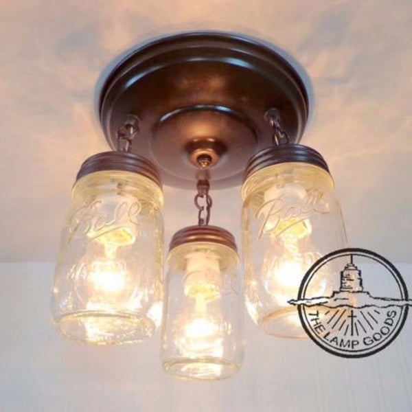Mason Jar LIGHT FIXTURE New PINT Trio - Mason Jar Light Fixture - The Lamp Goods - 2