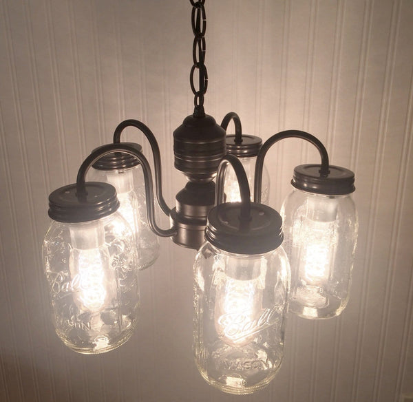 Mason Jar CHANDELIER 5-Light Pendant NEW Quarts - Mason Jar Light Fixture - The Lamp Goods - 2