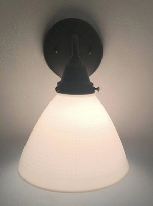 Milk Glass Waffle Wall SCONCE Light Fixture - The Lamp Goods