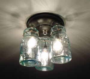 Greenish Vintage Canning Jar CEILING LIGHT Created NEW - The Lamp Goods