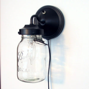 Vintage PLUG IN Quart Clear Canning Jar Sconce Light - The Lamp Goods