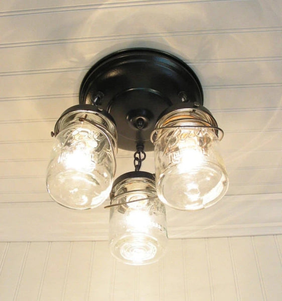 Mason Jar LIGHT FIXTURE Vintage PINT Trio - Mason Jar Light Fixture - The Lamp Goods - 2