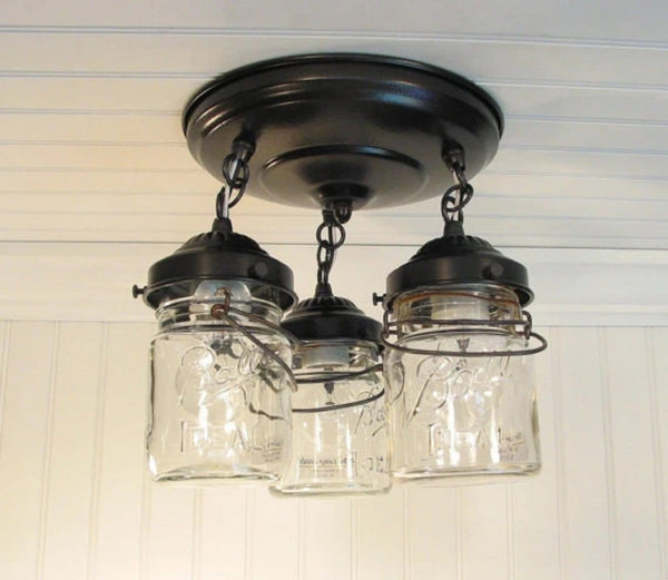 Mason Jar LIGHT FIXTURE Vintage PINT Trio - Mason Jar Light Fixture - The Lamp Goods - 3