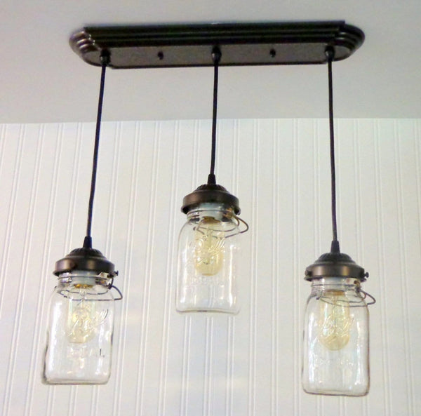 Mason Jar 3-Light CHANDELIER Rectangular Vintage Quarts - Mason Jar Light Fixture - The Lamp Goods - 4
