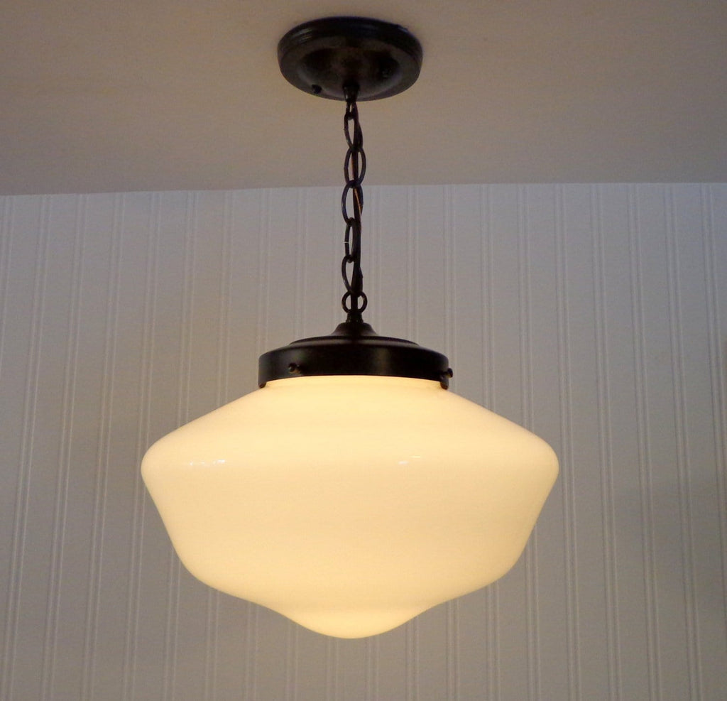 Milk Glass  Pendant Light Fixture - Large Schoolhouse Style - The Lamp Goods