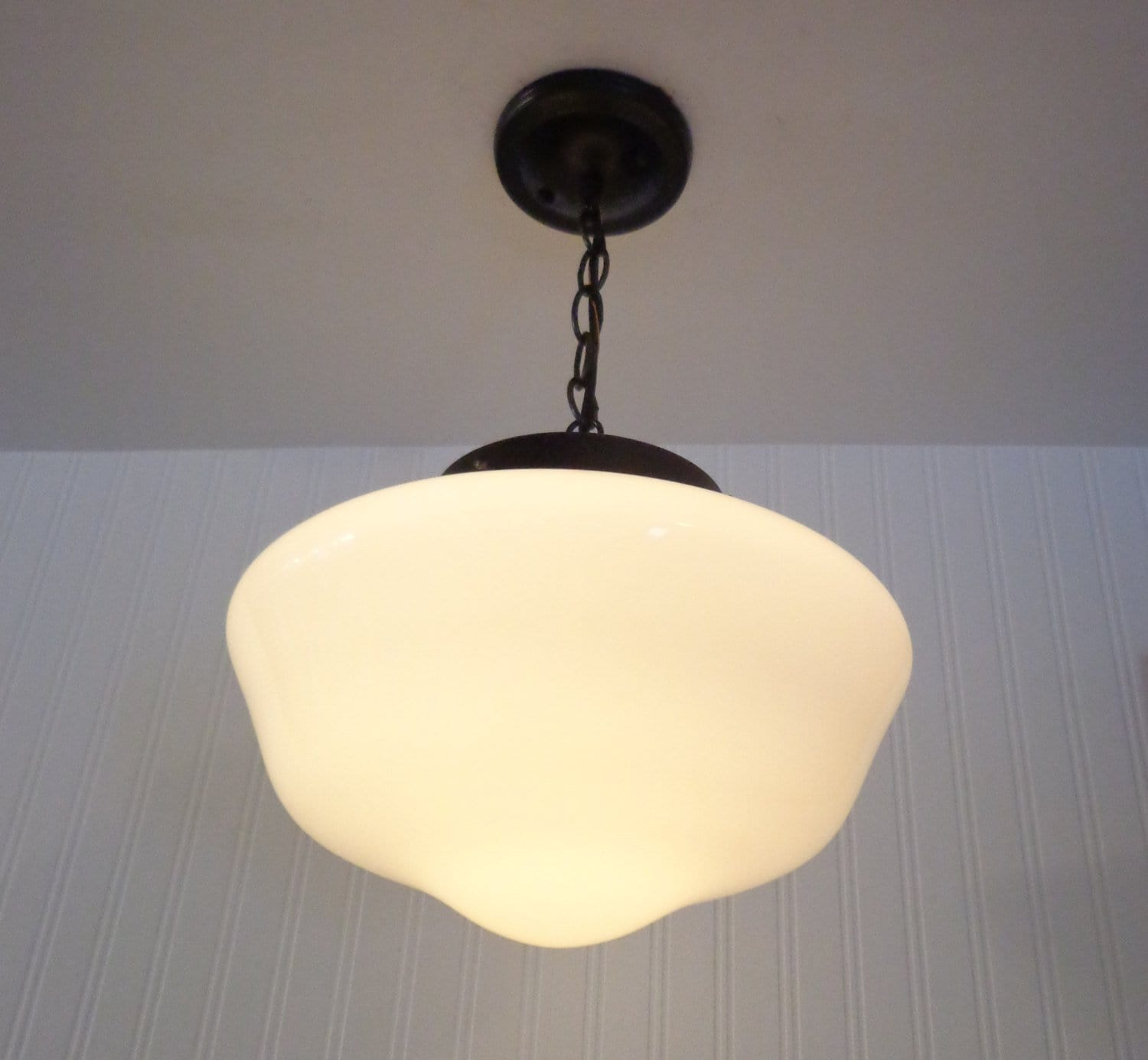 Milk glass schoolhouse pendant light fixture large the lamp goods aloadofball Image collections