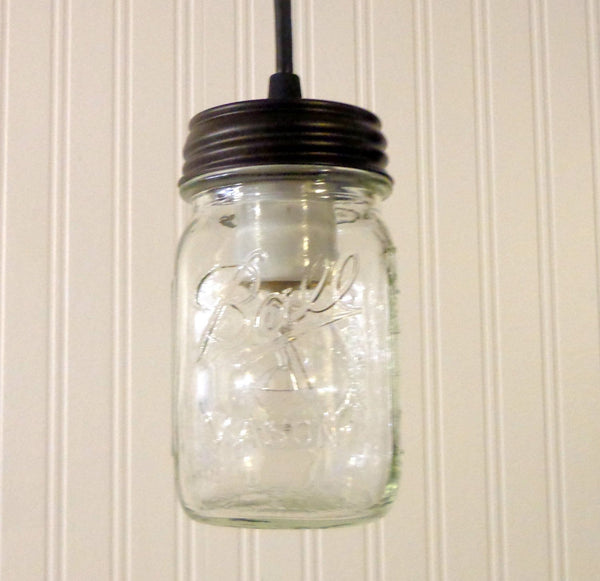 Mason Jar PENDANT Light New Pint - Mason Jar Light Fixture - The Lamp Goods - 3