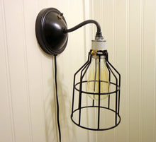 Load image into Gallery viewer, Industrial Wall LIGHT SCONCE Plug-In with Edison Bulb - The Lamp Goods