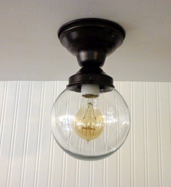 Biddeford II. Modern Semi Flush Ceiling Light - Clear Glass Lighting Fixtues - The Lamp Goods - 3