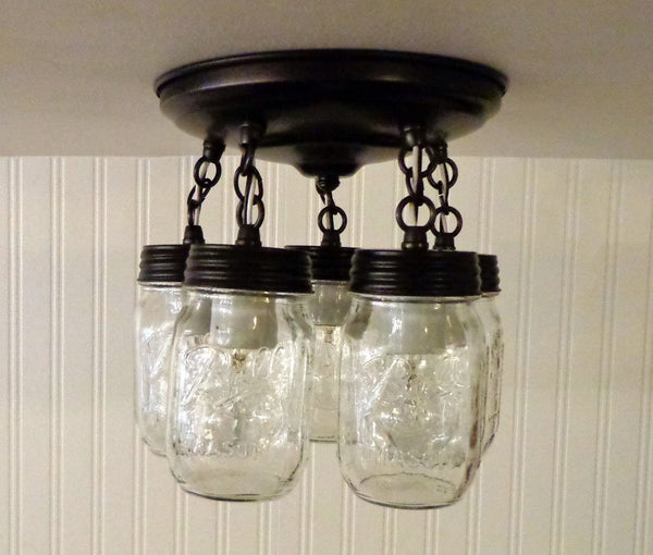 Mason Jar LIGHT FIXTURE New PINT 5-Light - Mason Jar Light Fixture - The Lamp Goods - 3